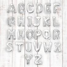 "Silver 34"" A-Z Letter Shaped Foil Helium Balloon"