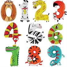 Zooloons Animals Number 0-9 Shaped Foil | Helium Balloon - Choose your Number(s)
