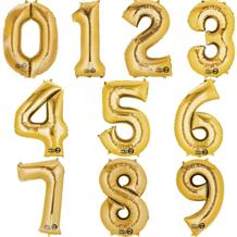 Gold Number 0-9 Shaped Foil | Helium Balloon - Choose your Number(s)