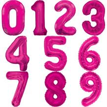 Pink Number 0-9 Shaped Foil | Helium Balloon - Choose your Number(s)