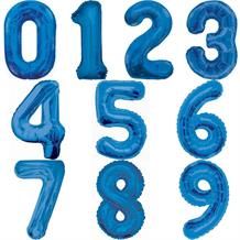 Blue Number 0-9 Shaped Foil | Helium Balloon - Choose your Number(s)
