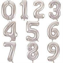 Silver Number 0-9 Shaped Foil | Helium Balloon - Choose your Number(s)