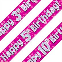 Pink Heart Happy Birthday Age 1-16 Foil Banner - Choose your Age