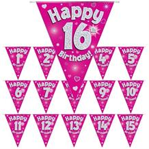 Pink Heart Happy Birthday Age 1-16 Foil Flag | Bunting Banner - Choose your Age