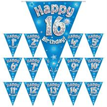 Blue Star Happy Birthday Age 1-16 Foil Flag | Bunting Banner - Choose your Age