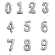 Silver Glitter Number 0-9 Birthday Cake Candle - Choose your Number(s)