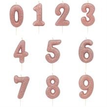 Rose Gold Glitter Number 0-9 Birthday Cake Candle - Choose your Number(s)
