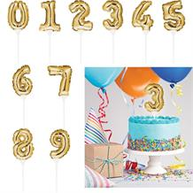 Gold Mini Balloon Number 0-9 Birthday Cake Topper - Choose your Number(s)