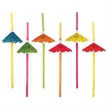 Hawaiian Umbrella Foldout Party Drinking Straws