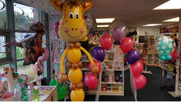 Giraffe baloon bouquet in our Coalville party supplies store