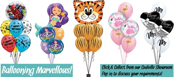 Some of our favourite balloon bouquets, spiderman, mermaids, tigers, flamingos and weddings
