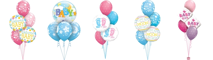 Ready Inflated Baby Shower Balloon Bouquets | Party Save Smile
