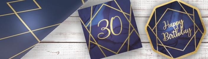 Navy Blue & Gold Geode 18th Birthday Party Supplies | Balloon | Decoration | Packs
