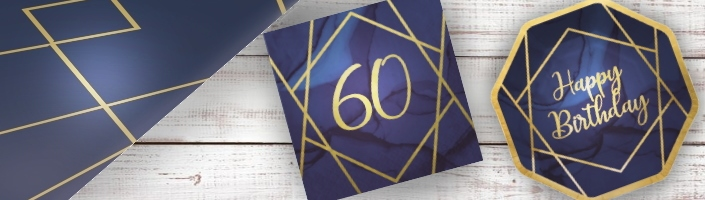 Navy Blue & Gold Geode 60th Birthday Party Supplies | Balloon | Decoration | Packs