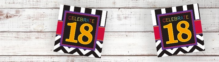 Chevron 18th Birthday Party Supplies | Balloon | Decoration | Pack