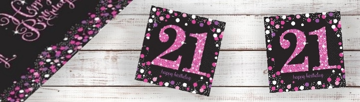 Pink Sparkle 21st Birthday Party Supplies | Balloon | Decoration | Pack
