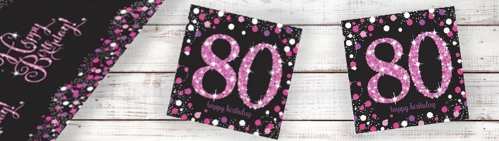 Pink Sparkle 80th Birthday Party Supplies | Balloon | Decoration | Pack