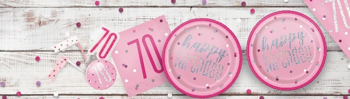 Pink Glitz 70th Birthday Party Supplies | Balloon | Decoration | Pack