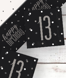 Black Glitz 13th Birthday Party Supplies | Balloon | Decoration | Pack