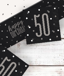 Black Glitz 50th Birthday Party Supplies | Balloon | Decoration | Pack