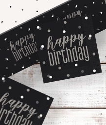 Black Glitz Happy Birthday Party Supplies | Balloon | Decoration | Pack