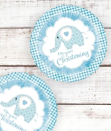 Blue Elephant Christening Party Supplies | Balloons | Decorations | Pack