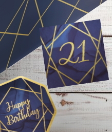 Navy Blue & Gold Geode 21st Birthday Party Supplies | Balloon | Decoration | Packs