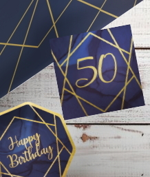 Navy Blue & Gold Geode 50th Birthday Party Supplies | Balloon | Decoration | Packs
