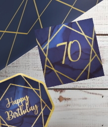 Navy Blue & Gold Geode 70th Birthday Party Supplies | Balloon | Decoration | Packs