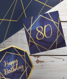 Navy Blue & Gold Geode 80th Birthday Party Supplies | Balloon | Decoration | Packs