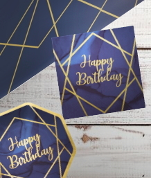 Navy Blue & Gold Geode Happy Birthday Party Supplies | Balloon | Decoration | Packs