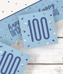 Blue Glitz 100th Party Supplies | Balloon | Decoration | Pack