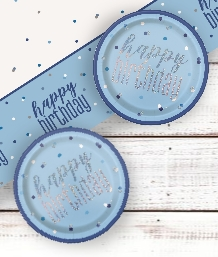 Blue Glitz 1st Birthday Party Supplies | Balloon | Decoration | Pack