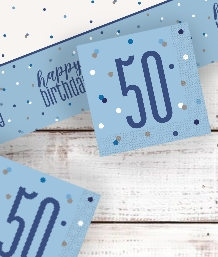 Blue Glitz 50th Birthday Party Supplies | Balloon | Decoration | Pack