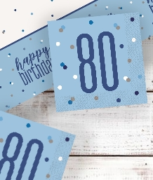 Blue Glitz 80th Birthday Party Supplies | Balloon | Decoration | Pack