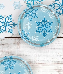 Blue Snowflake Swirls Christmas Party Supplies | Party Save Smile