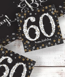 Gold Sparkle 60th Birthday Party Supplies | Balloon | Decoration | Pack