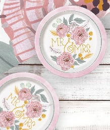 Painted Floral Wedding Themed Tableware | Decorations | Balloons - Party Save Smile