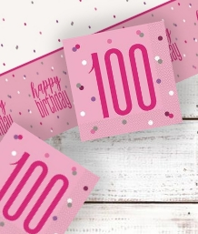 Pink Glitz 100th Birthday Party Supplies | Balloon | Decoration | Pack