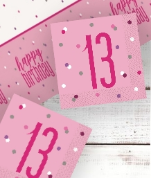 Pink Glitz 13th Birthday Party Supplies | Balloon | Decoration | Pack