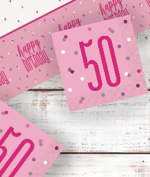 Pink Glitz 50th Birthday Party Supplies | Balloon | Decoration | Pack