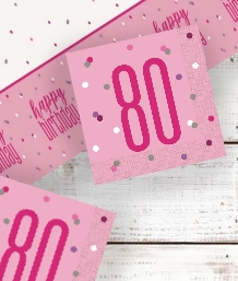 Pink Glitz 80th Birthday Party Supplies | Balloon | Decoration | Pack