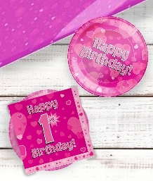 Pink Heart 1st Birthday Party Supplies | Balloon | Decoration | Pack