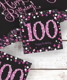 Pink Sparkle 100th Party Supplies | Balloon | Decoration | Pack