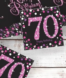 Pink Sparkle 70th Birthday Party Supplies | Balloon | Decoration | Pack