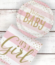Pink and Gold Girl Baby Shower Supplies | Balloons | Decorations | Packs