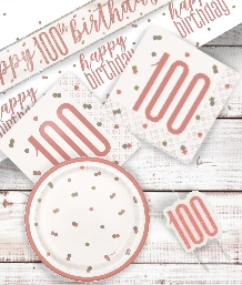 Rose Gold Glitz 100th Birthday Party Supplies | Balloon | Decoration | Pack
