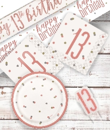 Rose Gold Glitz 13th Birthday Party Supplies | Balloon | Decoration | Pack