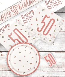 Rose Gold Glitz 50th Birthday Party Supplies | Balloon | Decoration | Pack