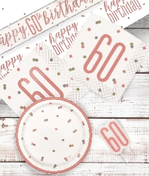 Rose Gold Glitz 60th Birthday Party Supplies | Balloon | Decoration | Pack